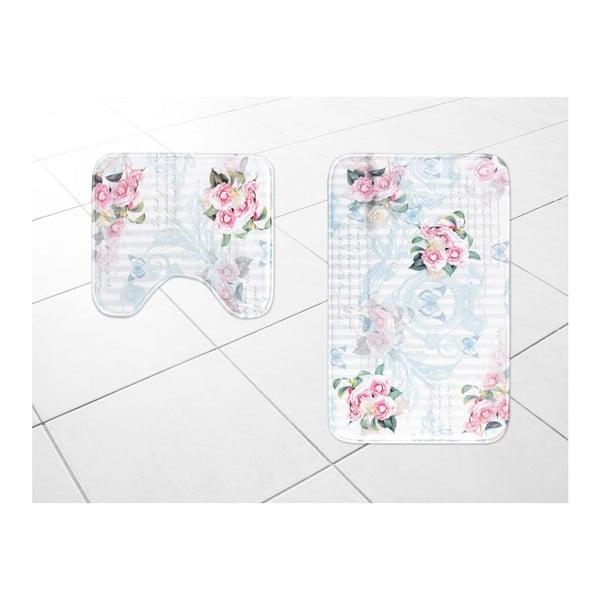 Zestaw 2 dywaników łazienkowych Madame Coco Sweet Roses, 45x50cm/50x80cm