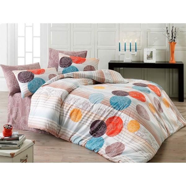 Lenjerie de pat cu cearșaf şi 2 feţe de pernă Kamelya, 200 x 220 cm
