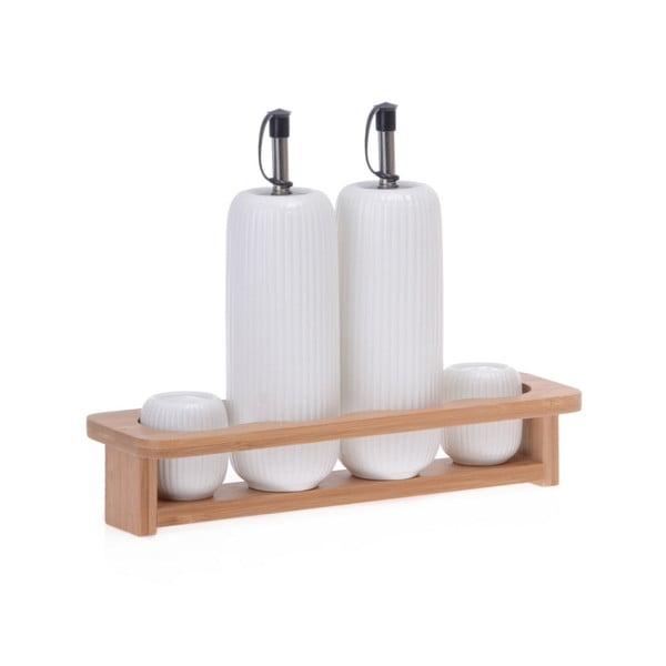 Set porcelánové pepřenky, slánky a 2 lahví na olej na bambusovém podnosu Zinas