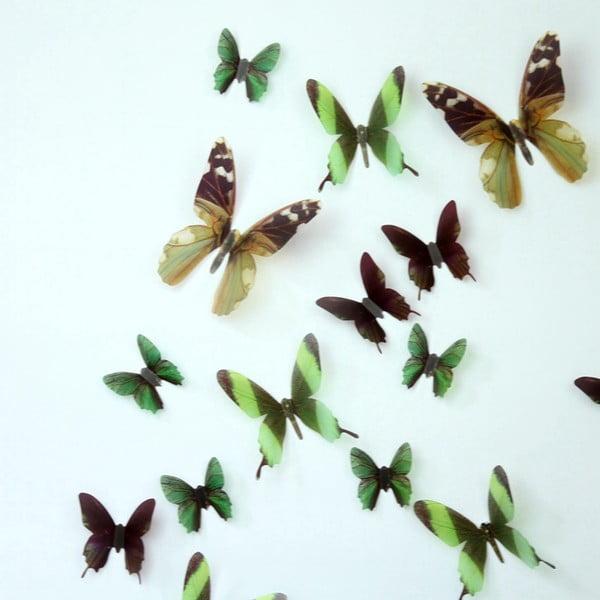 Trojrozměrné samolepky motýlků, barva zelená