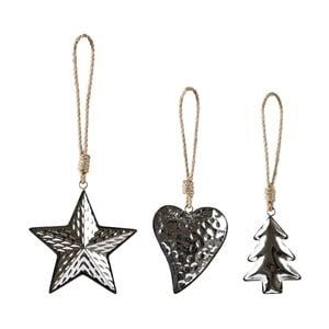 Sada 3 vánočních dekorací Villa Collection  Silver