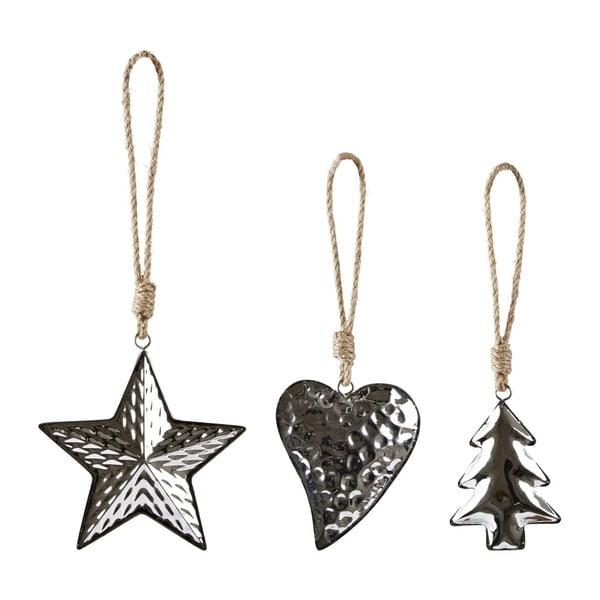 Sada 3 vianočných dekorácií Villa Collection Silver