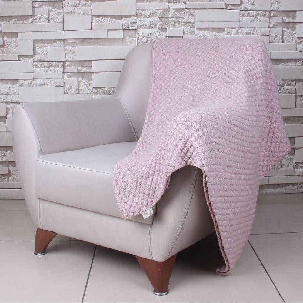 Růžová bavlněná deka Homemania Ciana, 170 x 130 cm