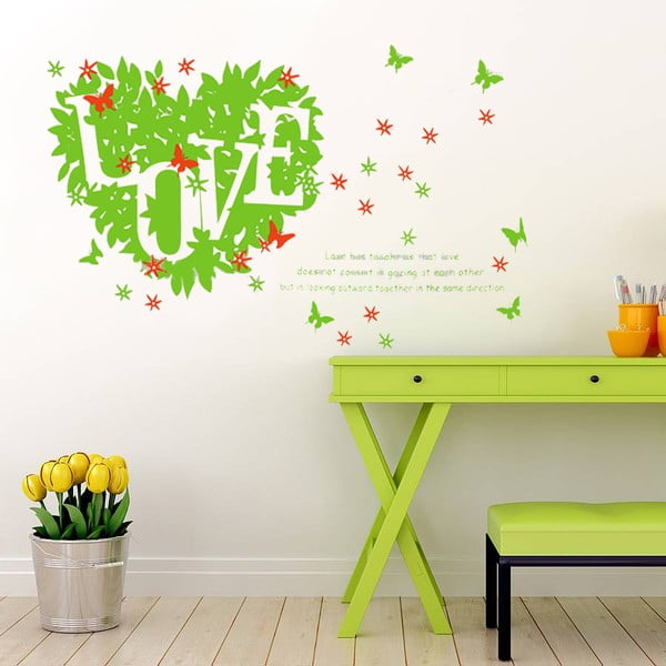 Samolepka na stěnu Green Love, 60x90 cm