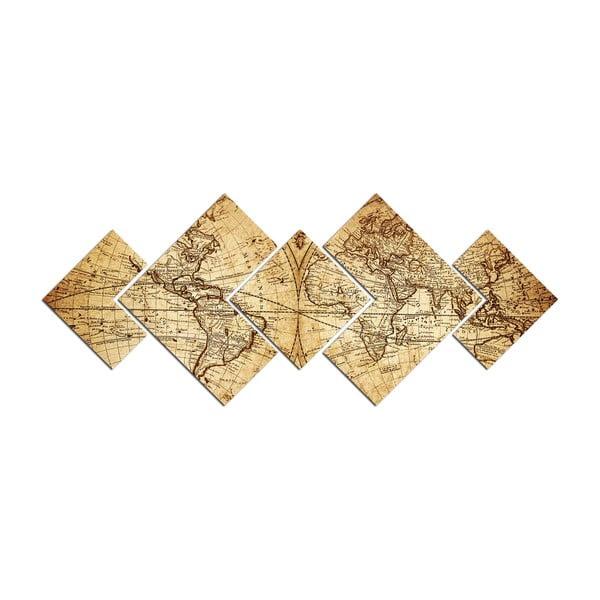 Obraz wieloczęściowy Map of World, 120x50 cm