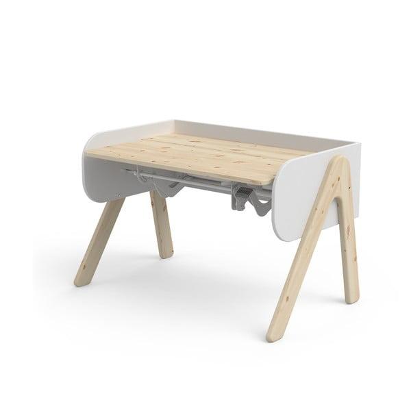 Bílo-hnědý psací stůl z borovicového dřeva s nastavitelnou výškou Flexa Woody