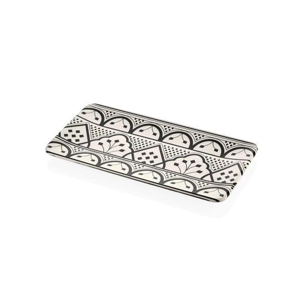 Farfurie din porțelan pentru servire cu ornamente negre Mia Maroc, 32 x 17 cm, crem