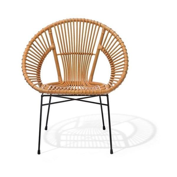 Bezowy fotel rattanowy Monbeli Noemi