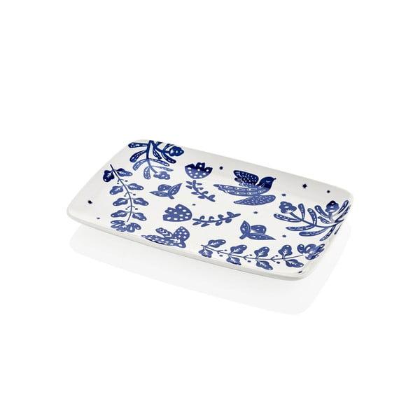 Bílo-modrý porcelánový servírovací talíř Mia Bloom, 34 x 25 cm