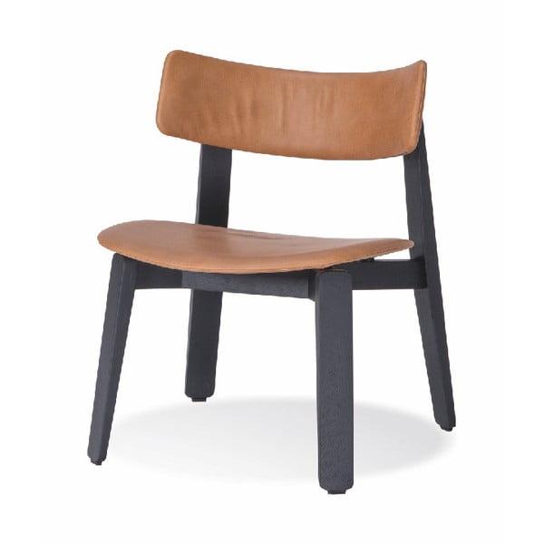 Scaun din lemn de stejar Gazzda Nora, șezut piele, negru