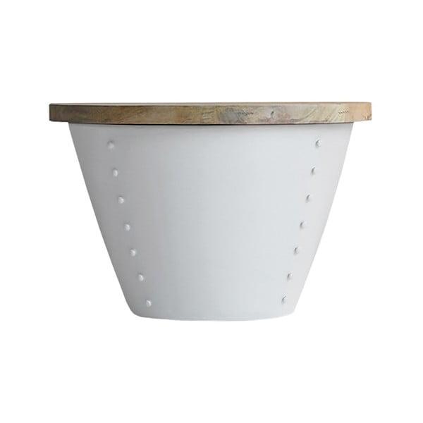 Indi fehér tárolóasztal mangófa asztallappal, Ø 46 cm - LABEL51