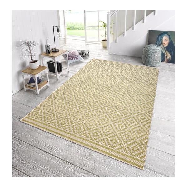 Zeleno-krémový koberec vhodný i na ven Bougari Meadow, 140 x 200 cm