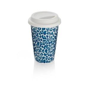Modrý cestovní hrnek z kostního porcelánu Sabichi Leopard, 300 ml