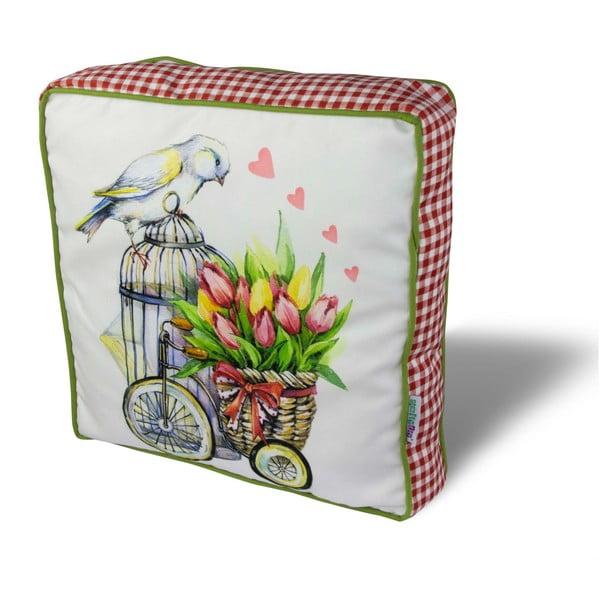 Pernă pentru scaun Gravel Bird With Tulips, 42x42cm,cuumplutură