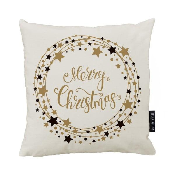 Vianočný vankúš s bavlnenou obliečkou Butter Kings Stars Wreath, 50 x 50 cm