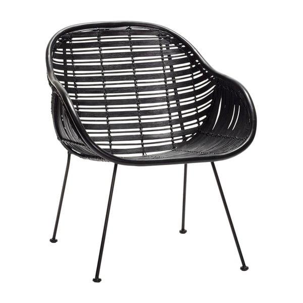 Czarny rattanowy fotel Hübsch Retto Misso