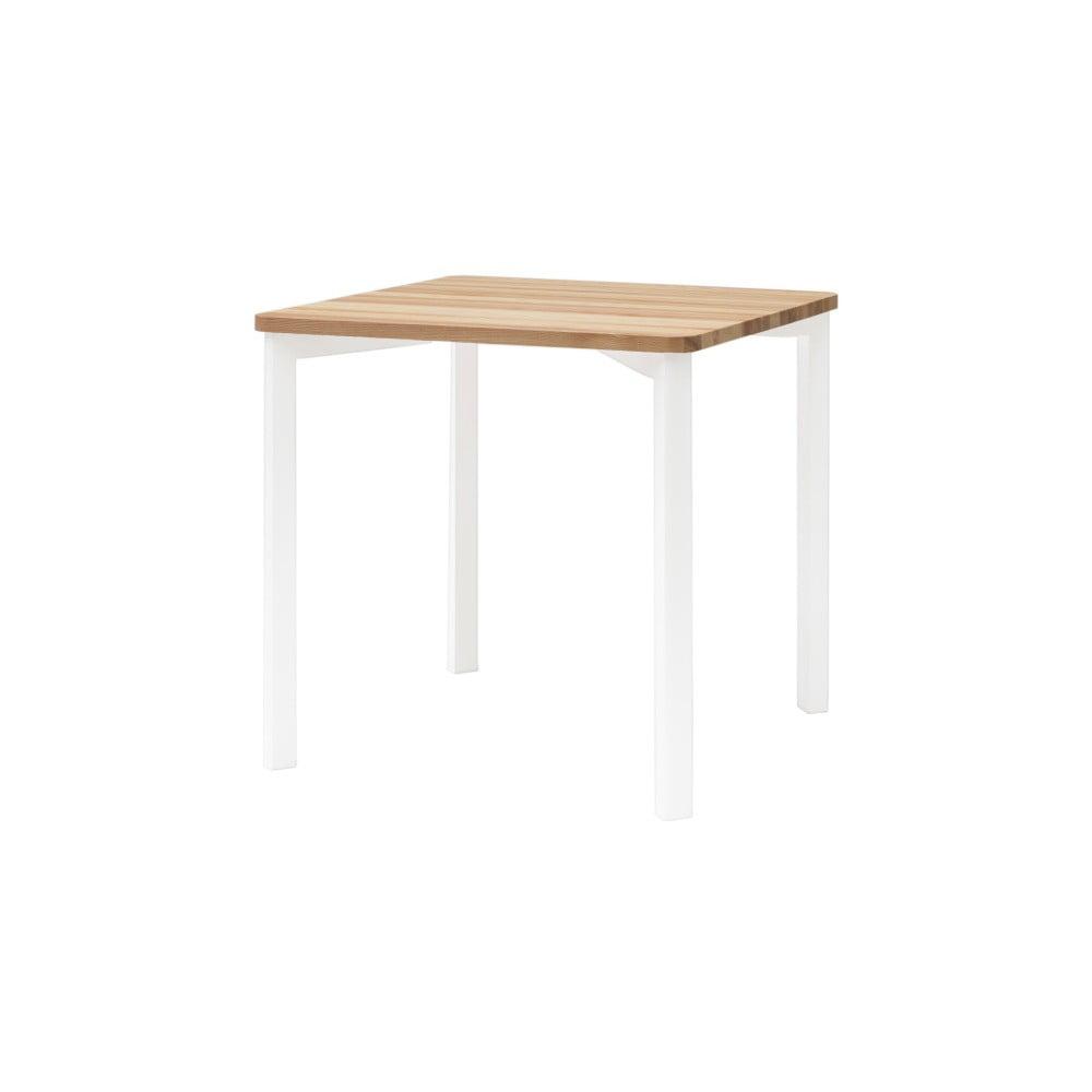 Bílý jídelní stůl se zaoblenými nohami Ragaba TRIVENTI, 80 x 80 cm