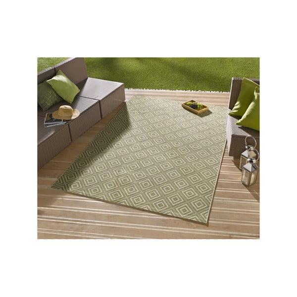 Zelený koberec vhodný i na ven Hanse Home Karo, 200x290cm