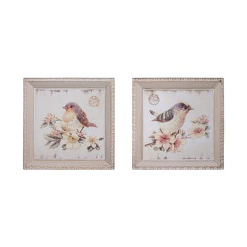 Set 2 tablouri Antic Line Oiseaux,27x27cm