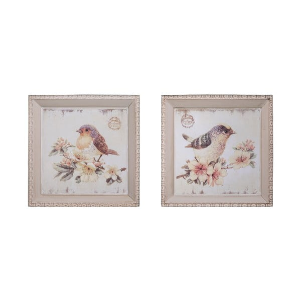 Komplet 2 obrazków Antic Line Oiseaux, 27x27 cm