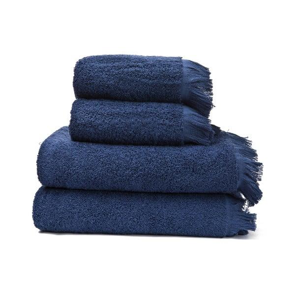 Sada 2 námornícky modrých uterákov a 2 osušiek zo 100% bavlny Bonami, 50 × 90 + 70 × 140 cm