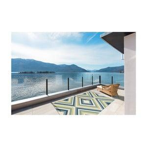 Zeleno-modrý vysoce odolný koberec vhodný do exteriéru Webtappeti Rombi, 133x190cm