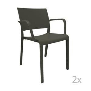 Sada 2 černých zahradních židlí s područkami Resol Fiona