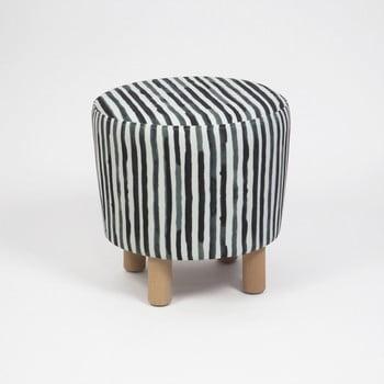Taburet cu picioare din lemn Cono Railey, ⌀ 41 cm, negru-alb imagine