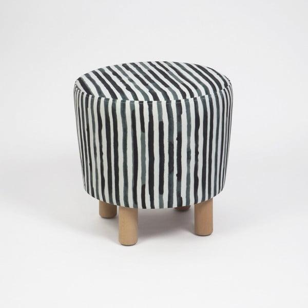 Taburet cu picioare din lemn Cono Railey, ⌀ 41 cm, negru-alb
