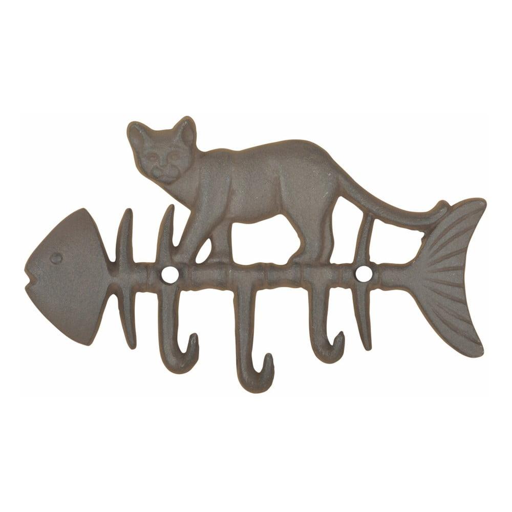 Litinový nástěnný háček s motivem ryby a kočky Esschert Design fd085d0f0e
