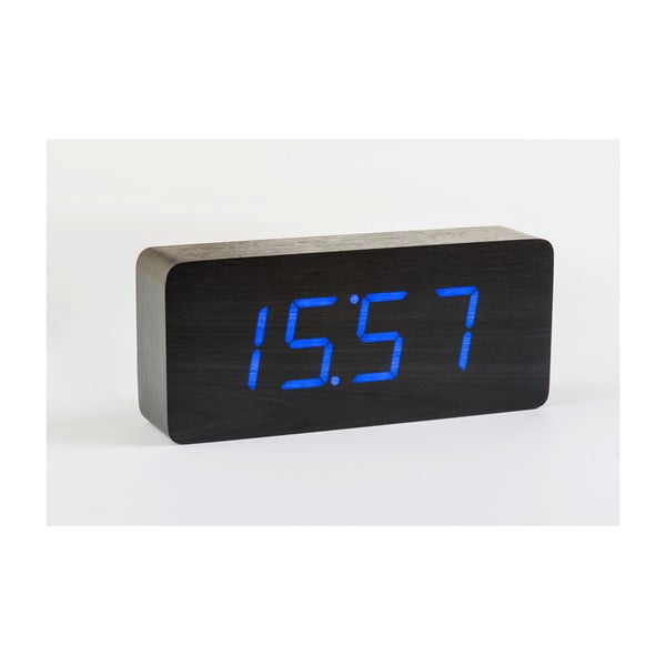 Černý budík s modrým LED displejem Gingko Slab Click Clock