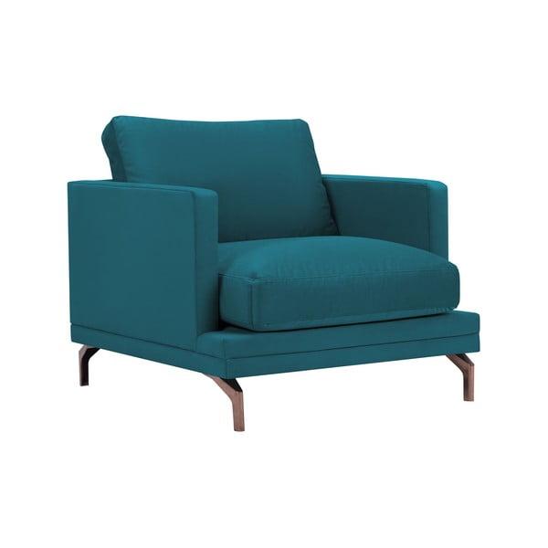 Tyrkysové křeslo s podnožím ve zlaté barvě Windsor & Co Sofas Jupiter