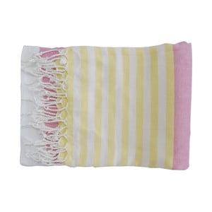 Fialovo-žlutá ručně tkaná osuška z prémiové bavlny Homemania Melis Hammam,100x180 cm