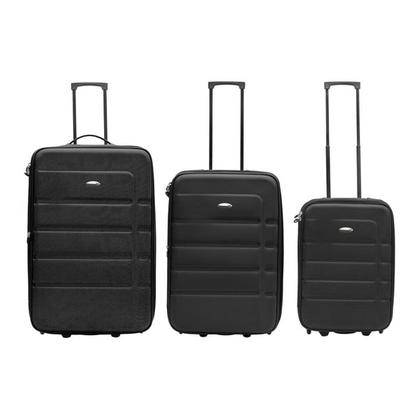 Sada 3 černých cestovních kufrů Packenger Easy Traveller