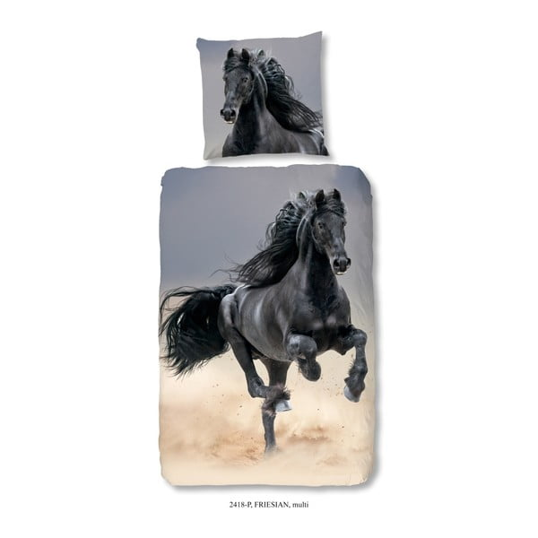 Dziecięca bawełniana pościel jednoosobowa Good Morning Horse, 140x200 cm