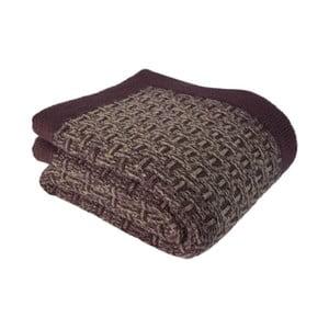 Fialovo-hnědý pletený přehoz Cozy Up, 130 x 170 cm