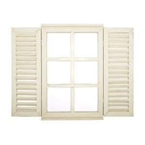 Bílé zrcadlo Esschert Design Okno s okenicemi, 59 x 39 cm