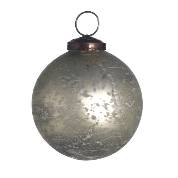 Set šesti skleněných ozdob, Artifact, 7 cm, krémová
