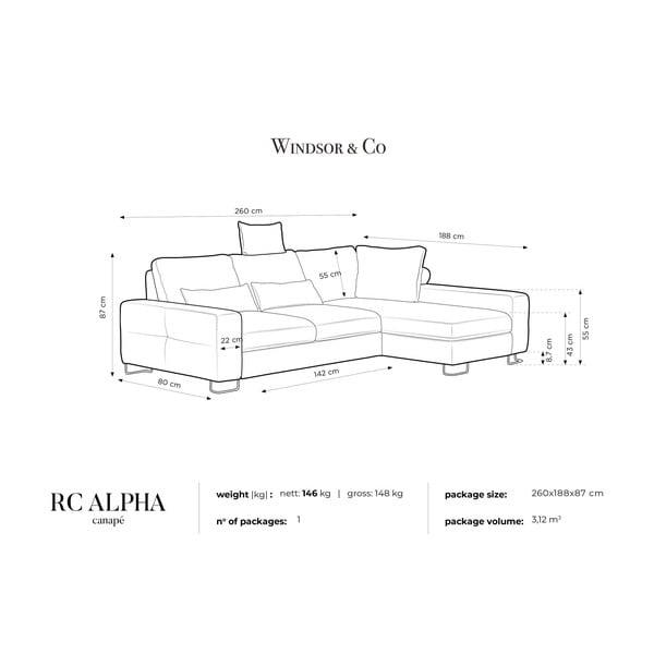 Tmavě šedá rohová rozkládací pohovka Windsor & Co Sofas, pravý roh Alpha