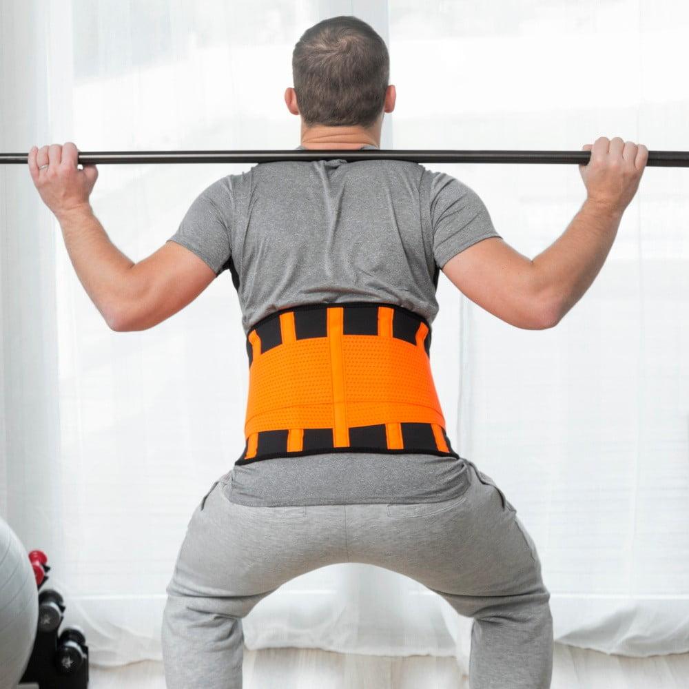 Oranžovo-černý sportovní pás na hubnutí a správné držení těla InnovaGoods, velikost L