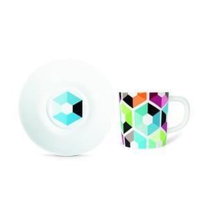 Cană pentru espresso cu farfurie Remember Hexagon,75ml