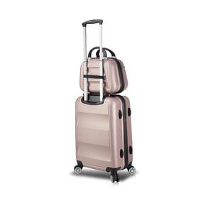 Sada růžového cestovního kufru na kolečkách s USB portem a příručního kufříku My Valice LASSO MU & Cabin