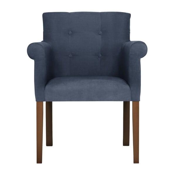 Tmavě modrá židle s tmavě hnědými nohami z bukového dřeva Ted Lapidus Maison Flacon