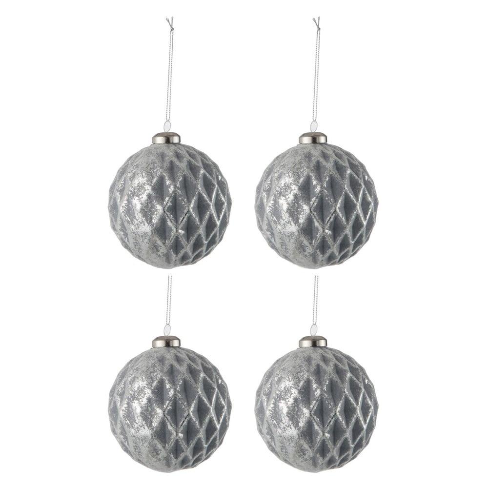 Sada 4 skleněných vánočních ozdob ve stříbrné barvě J-Line Diamond,ø9cm