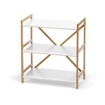 Etajeră cu structură din bambus pe 3 nivele loomi.design Lora, alb imagine