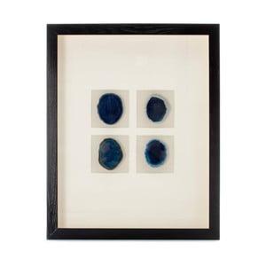 Nástěnná dekorace v rámu s 4 modrými nerosty Vivorum Mineral, 51,5x41,5cm