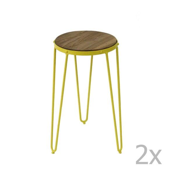 Sada 2 žlutých příručních stolků z jilmového dřeva Red Cartel Gatsby