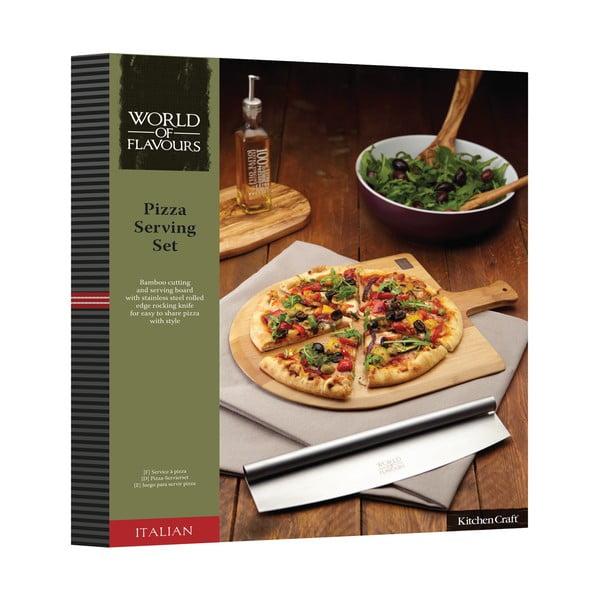 Bambusové prkénko s kráječem na pizzu Kitchen Craft Italian