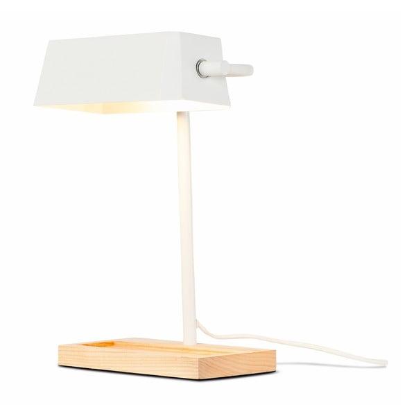Bílá stolní lampa s prvky z jasanového dřeva Citylights Cambridge