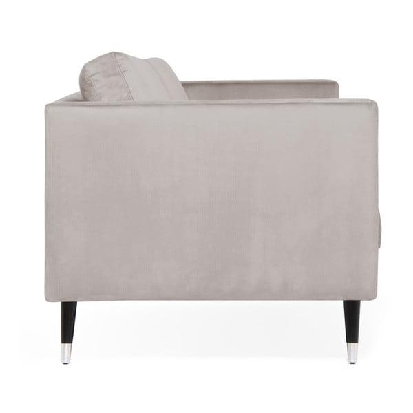 Světle šedá trojmístná pohovka s nohami ve stříbrné barvě Vivonita Meyer Velvet